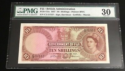 1957 Government of Fiji QEII 10/- Ten Shillings Circulated Banknote