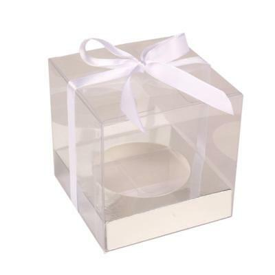 Transparent Boxes 12 Pieces Clear PVC Base Inside Wedding Party Packaging Silver
