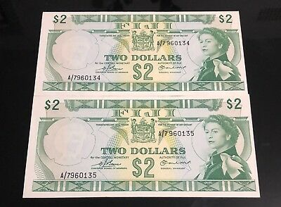 Two consecutive numbered Fiji Two Dollar $2 Banknotes