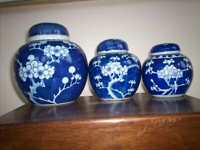 Chinese blue and white ginger jars three jars with blue rings