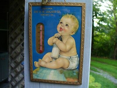 Old H.W. Walker Co.  Dairy Advertising Thermometer Somerset Pa Baby Milk Bottle