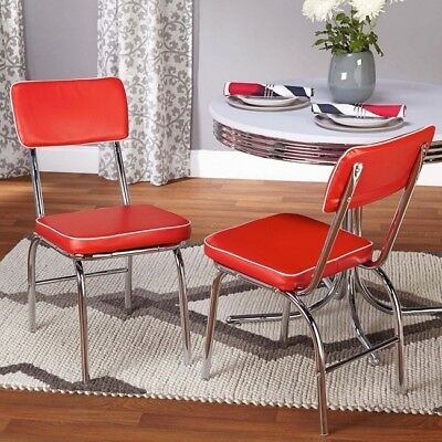 Retro Chrome Dining Chairs Vinyl Vintage 50u0027s Diner Style Seats Red Set Of 2