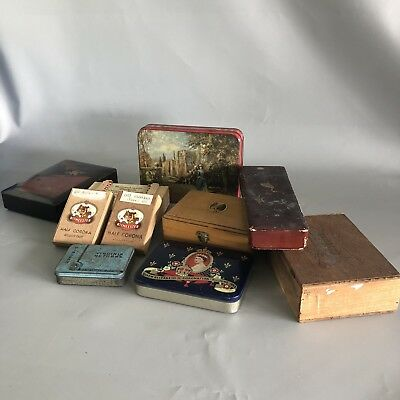 Vintage tins boxes job lot cigar box cadbury tin Oriental papier mache wooden