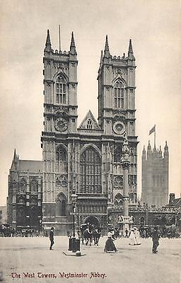 EARLY 1900's VINTAGE  WEST TOWERS, WESTMINSTER ABBEY POSTCARD