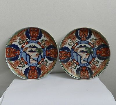 Pair of Antique Japanese Imari Plates Signed Hand Painted
