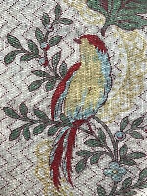"Antique french Shabby Chic Doves Stripe fabric curtain c1900 72"" Chinoiserie"