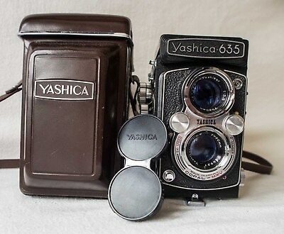 Yashica 635 Twin Lens Reflex Camera with leather case and strap