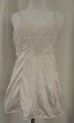 Vintage Apostrophe Intimates Sears Light Pink Sheer Lace Top Camisole S 8-10