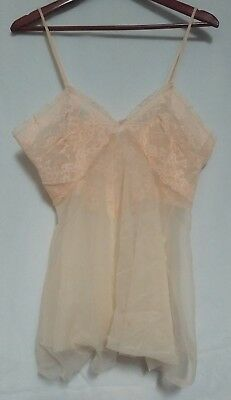 Vintage Pandora Lingerie by Chic Womens Peach Sheer Camisole L STYLE# 2129