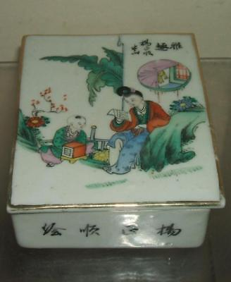 A Vintage Chinese Famille Rose Box And Cover - Lady Figure & Calligraphy