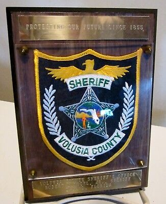Valusia Co.FL Sheriff Police Patch On Award Plaque From Sheriff Robert Vogel