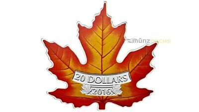 20 $ Dollar Coloured Maple Leaf Shaped Cut Out Kanada 1 oz Silber PP 2016