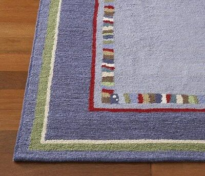 Pottery Barn Kids Hudson 5x8 Wool Area Rug Blue Red Green White NEW