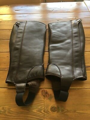Brown Dublin Leather And Suede Gaiters