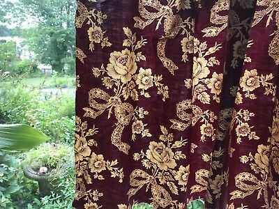 """Antique french Ribbon Bows And Noeuds Bordeaux fabric Panel c1900s 24""""/94"""""""