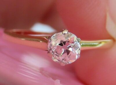 14K Antique Vintage Art Deco Old Mine Cut Diamond Solitaire Engagement Ring Rare
