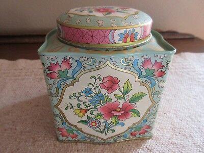 VTG DAHER Tin Container Made in England Floral Design EUC