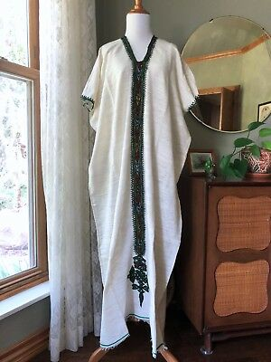 Vintage Caftan Cotton Woven Gauze Embroidered Dress Ethnic Boho 60s 70s Festival