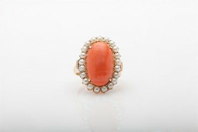 Antique 1940s RETRO Natural Coral Pearl 14k Rose Gold HALO Ring RARE FREE SZ