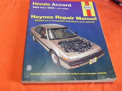 Haynes 1984-89 Honda Accord Service manual, very good condition!