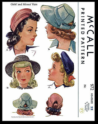 Hat Beret Millinery VTG 40s GIRLS and MISSES Fabric Sewing Pattern McCall 972