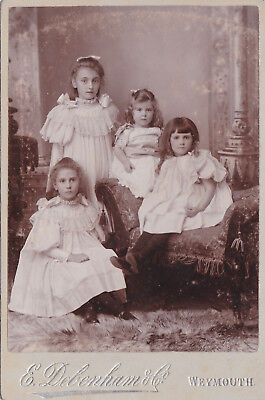 Antique Cabinet Photo - Lovely Image Of 4 Young Sisters.  Weymouth Studio