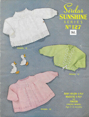 W143 Vintage Baby Knitting Pattern 3 ply cardigans Balleria Top 0-9 months