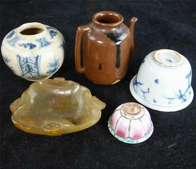 5 Pieces Antique Chinese Pottery Porcelain Ming Swatow Hardstone Famille Rose