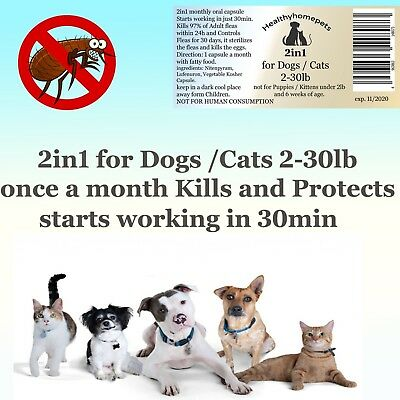 2in1 instant Flea Killer and Control for small Dogs / Cats 2-30lb in one 6month