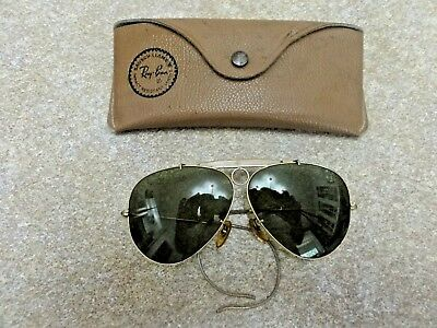 VINTAGE B & L RAY-BAN SHOOTER AVIATOR GLASSES SUNGLASSES 1/10 12 K GF w ORG CASE