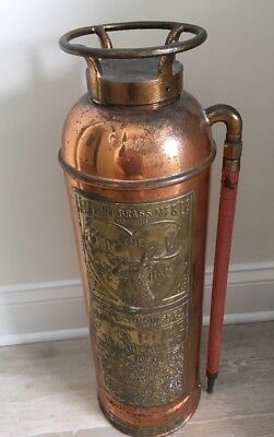 VINTAGE ELKHART LARGE HEAD COPPER BRASS FIRE EXTINGUISHER - Unrestored
