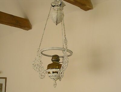 Victorian cast iron and brass rise and fall ceiling lamp