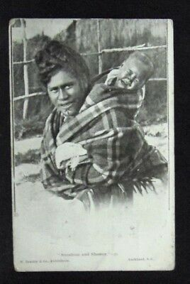 Old Printed Photo Postcard:New Zealand Maori Mother & Baby 'Sunshine and Shower'