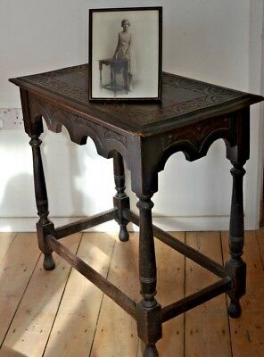 circa 1660 - 90  17th Century C Antique English Oak Carved Turned Joint Table