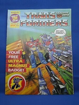 Marvel The Transformers UK Weekly Comic #99 7th Feb 1987 with FREE GIFT BADGE