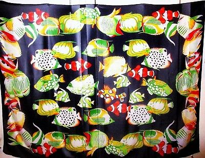 Large Sunny Hawaii  Novelty Scarf  / Wrap Fish Print Made in Italy
