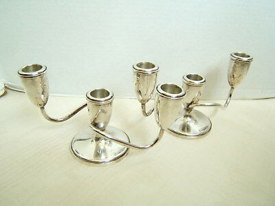 Fisher Sterling Silver Double Arm Candlesticks Pair
