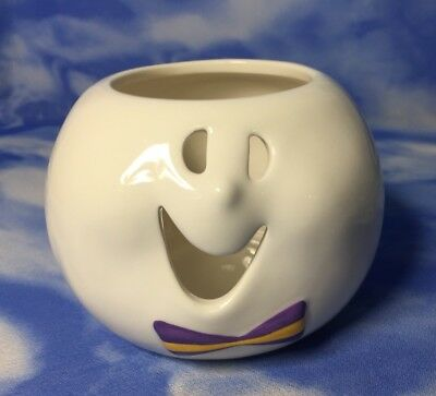 "NEW Adorable Kohl's 3"" Ceramic White Ghost Candle Holder Dish Halloween Bowtie"