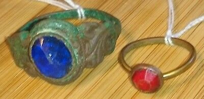 TWO MEDIEVAL STONE RINGS, appr 17th cent., early Romanov period, original stones