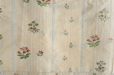 Antique fragment late 18th century striped floral silk from France