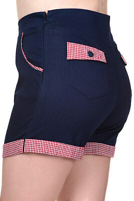 Denim Gingham Rockabilly Vintage Pin Up High Waist Shorts PLUS Banned Apparel