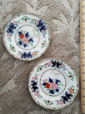 Minton New Stone Imari Pattern 6034 Flow Blue Plates  Set of 2! 1843