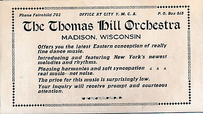 Thomas Hill Orchestra Trade card Madison Wisconsin