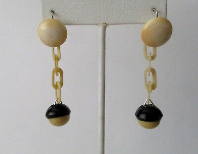 Pair of Vintage Hallmarked Celluloid Day/Night Earrings from France - Circa.1935