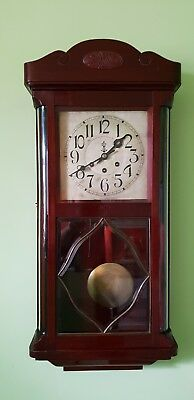 Very rare Antique Westminster Gustav Becker clock mahogany curved glass.