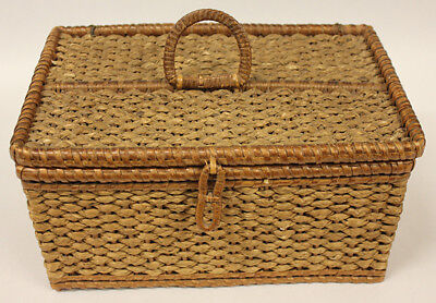 Woven Picnic Basket, Lunch Box or Sewing Kit. Vintage