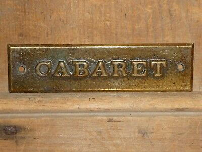 EARLY 1900s OLD ORIGINAL RARE BURLESQUE CABARET BRASS SIGN ANTIQUE DANCE MUSIC