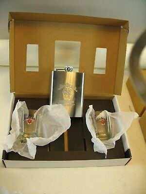 Jim Beam 8 oz stainless steel flask and 2 shot glass in box