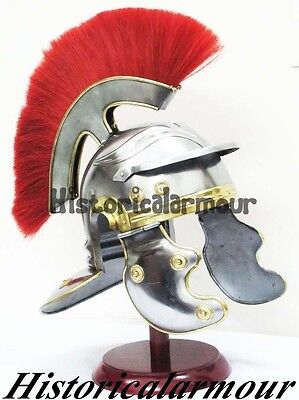 Roman Worrier Imperial Legion Helmet - Red Horse Hair Plume Forged handmade H96S