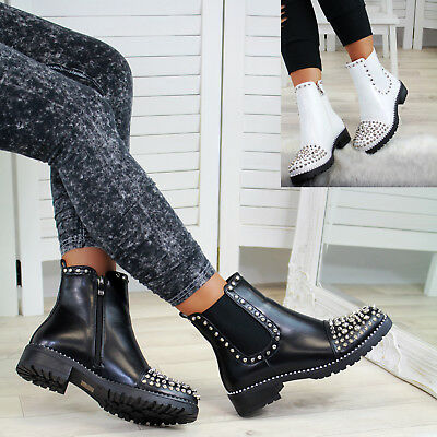 New Womens Ankle Boots Studs Zip Chunky Low Heel High Top Punk Biker Shoes Sizes